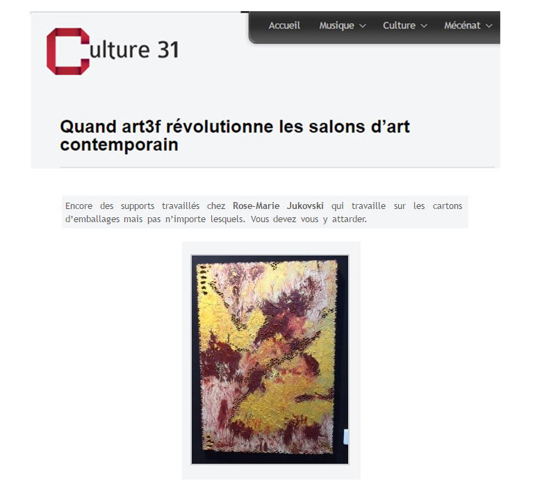 Rose marie jukowski artiste peintre bordelaise abstrait for Salon international d art contemporain toulouse